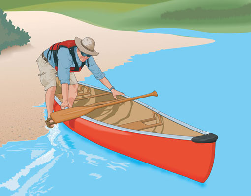Boarding a canoe from shore