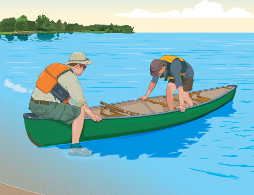Boarding a canoe from shore with two people