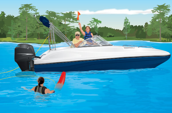 A skier in the water