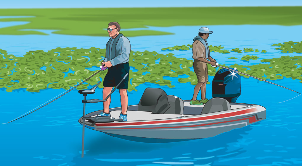 Two anglers standing in a boat and fishing