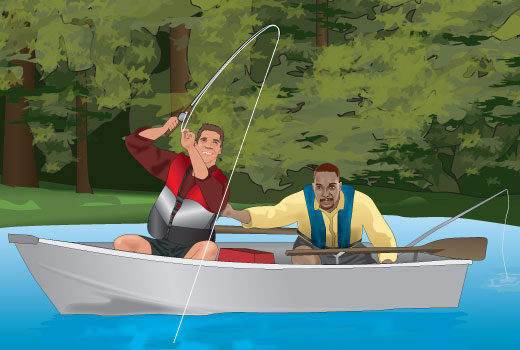 Two people fishing from a boat