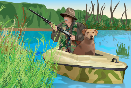 Hunter in a boat wearing inflatable camouflage PFD; dog in front of the hunter