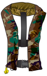 Camo PFD for hunting or fishing from a boat