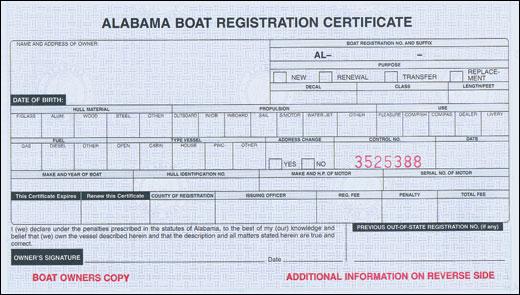 Alabama Registration Certificate