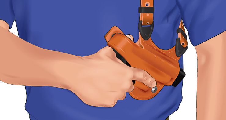 A person manually restrains a handgun in a shoulder holster with a snap