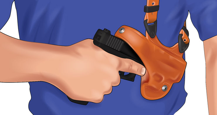 A person manually releasing a handgun from a holster