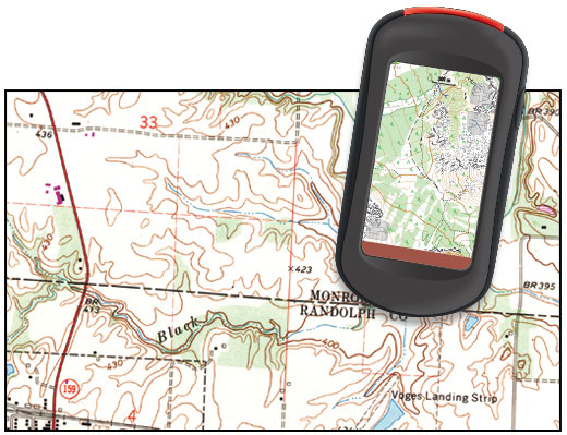 A topographical map and gps