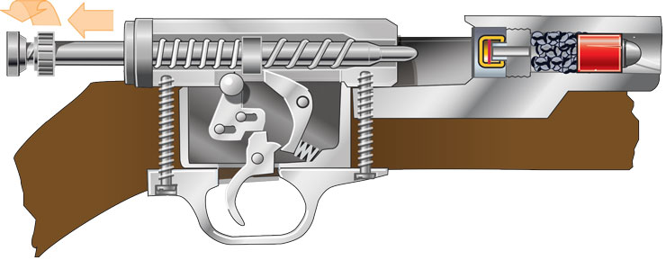 Cutaway showing the parts of a firearm