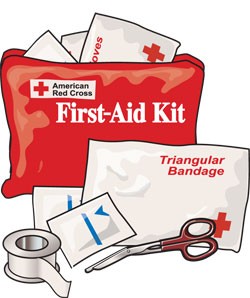 First-aid kit, triangular bandage, scissors, adhesive tape, gauze pads
