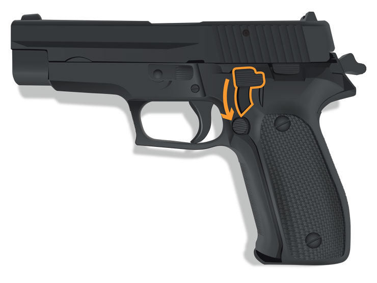A de-cocking lever is highlighted on a handgun.