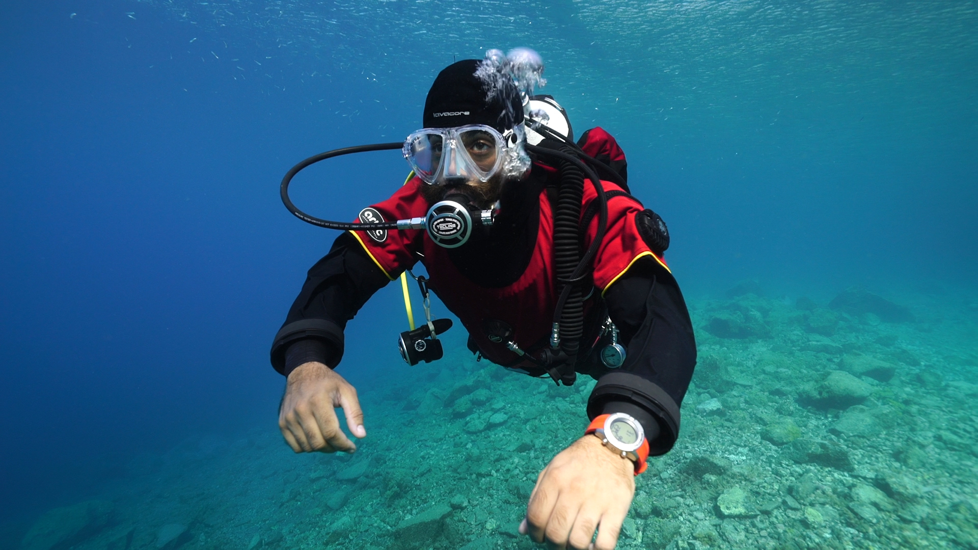 Scuba diver breathing through regulator