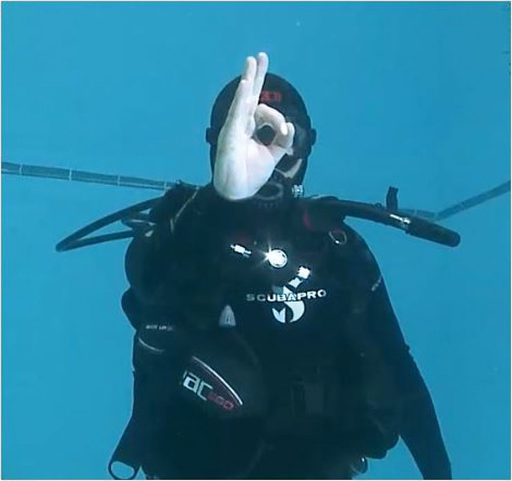 Scuba diver demonstrating a hand signal