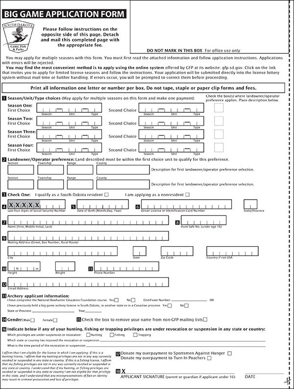 South Dakota big game application form