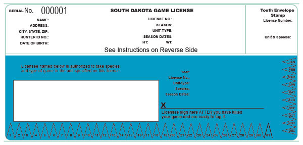 South Dakota game license