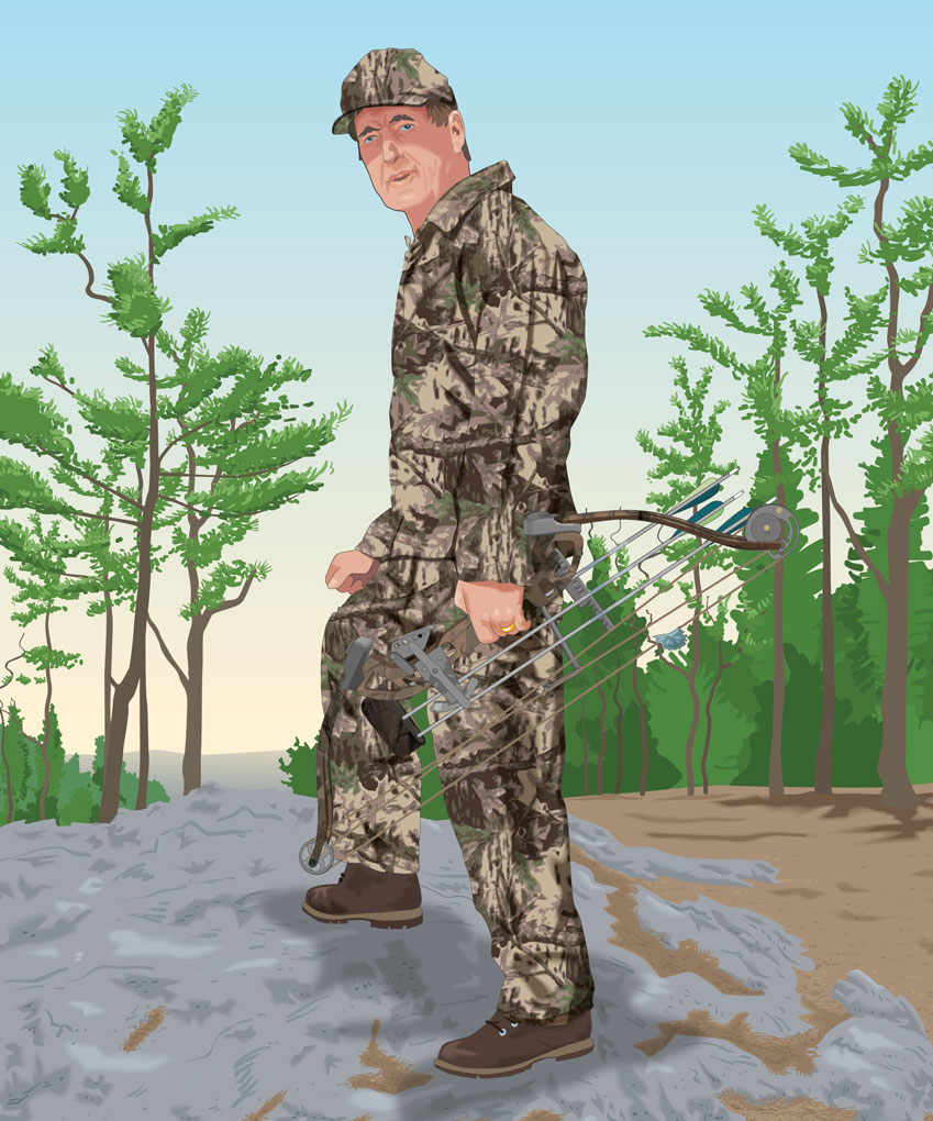 Bowhunter with broadheads in a covered quiver