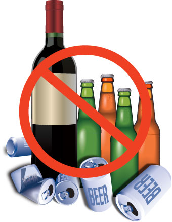 Prohibited sign on alcohol, beer bottles, and beer cans