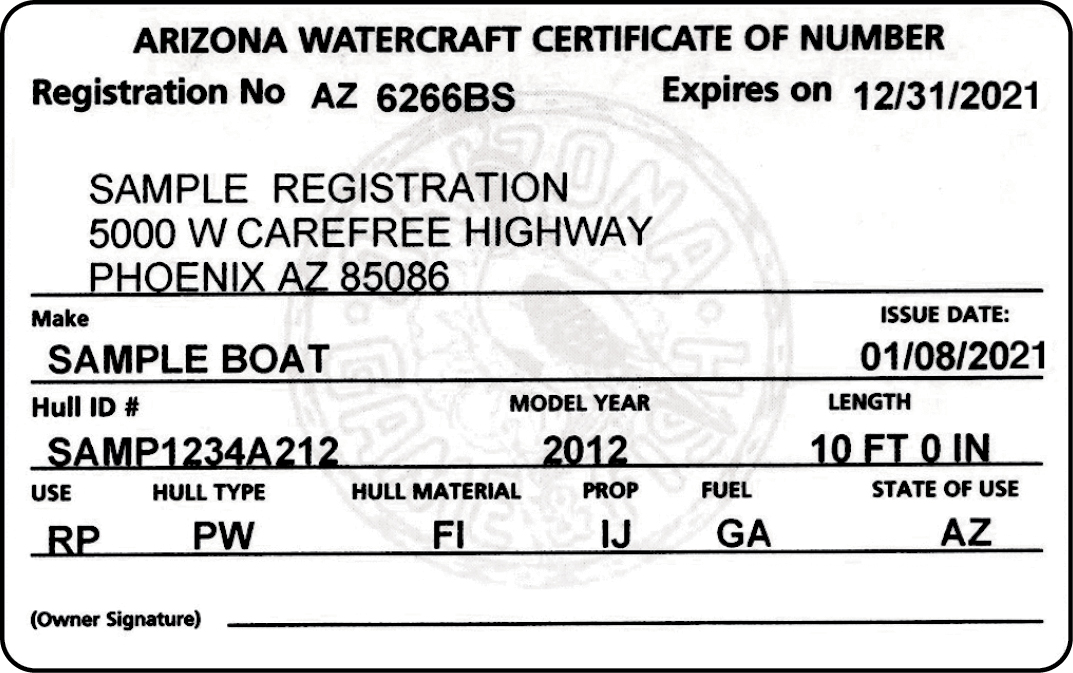 Arizona Certificate of Number