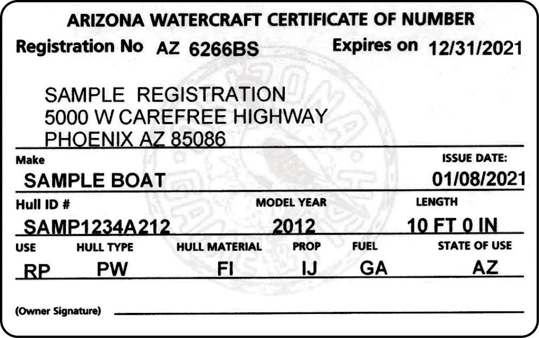 Arizona Certificate of Number