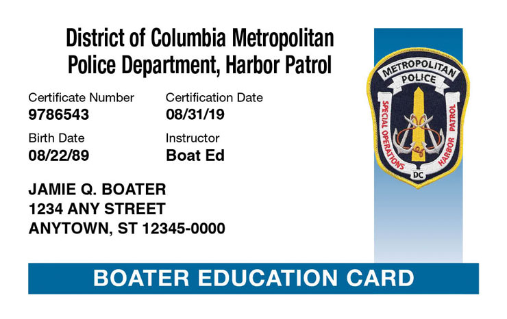 DC Boater Education Card
