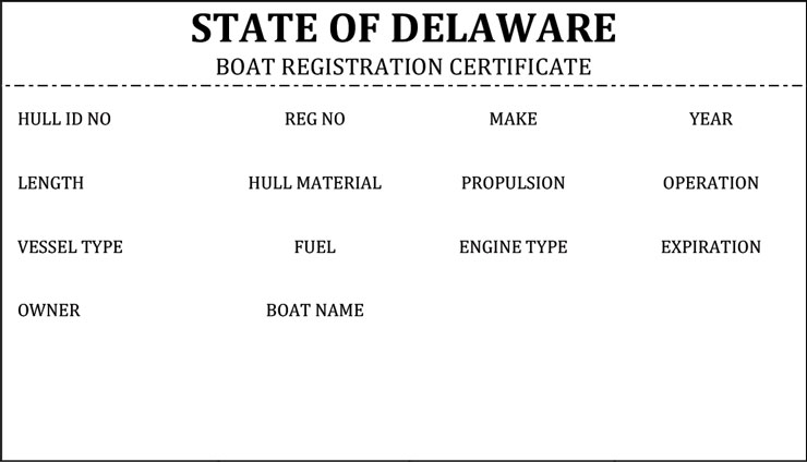 Delaware Boat Registration Certificate