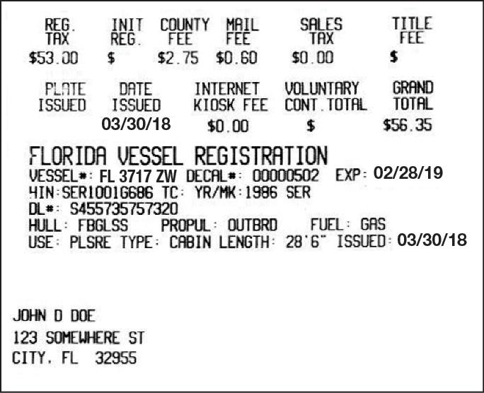 Florida Certificate of Registration