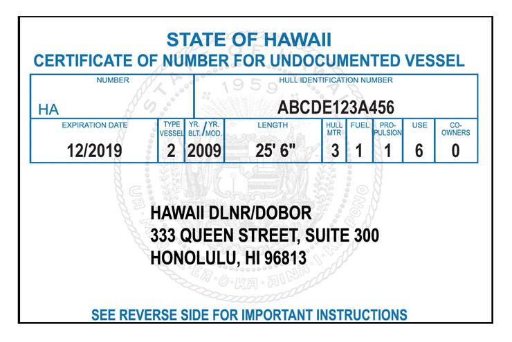 Hawaii Certificate of Number