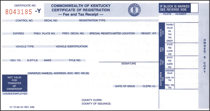 Kentucky Certificate of Registration
