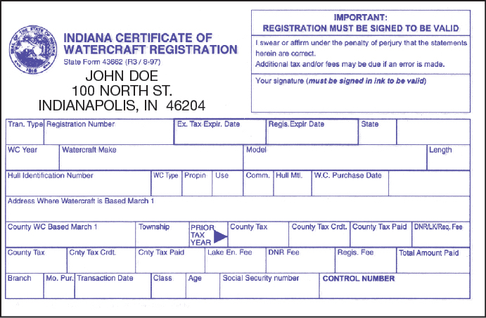 Certificate of Registration Indiana