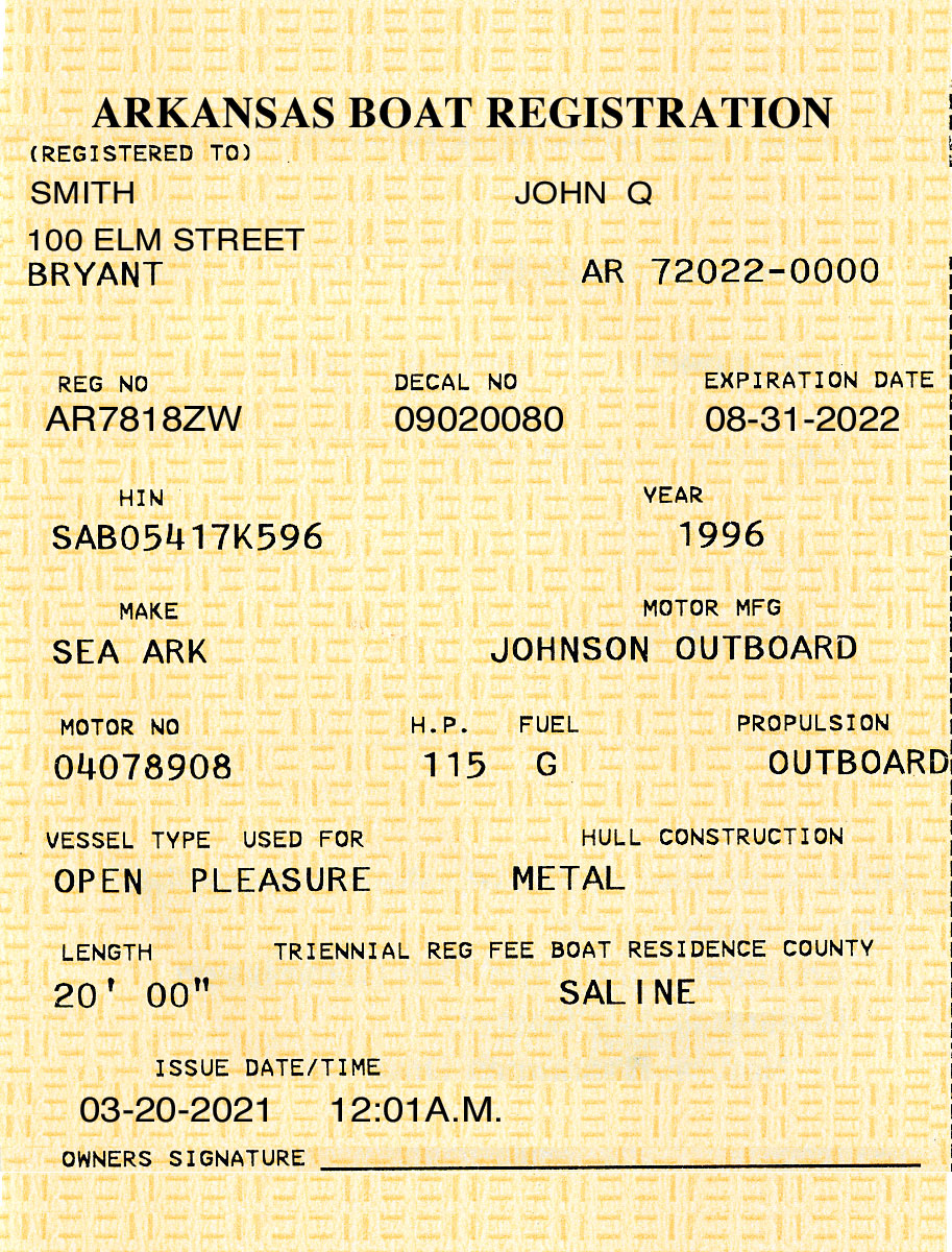 Arkansas Boat Registration Card