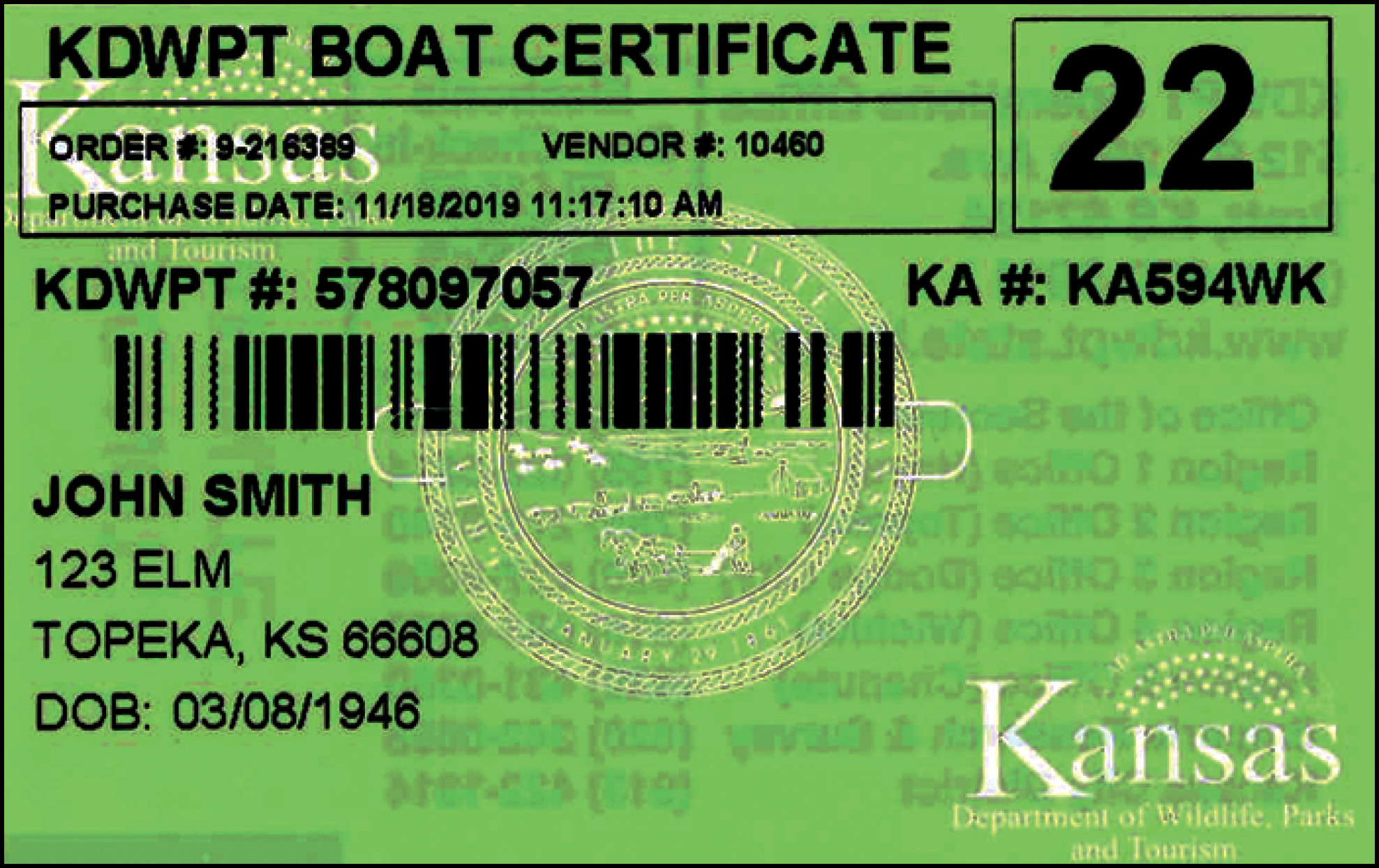 Kansas Certificate of Number