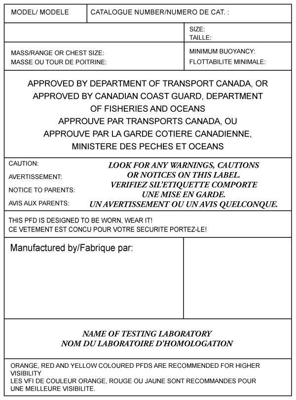 Canadian lifejacket label