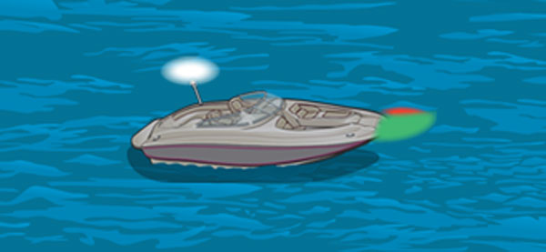 Powerboat with one all-round white light and red and green sidelights