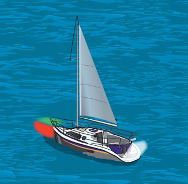 Sailboat with red and green sidelights and white sternlight