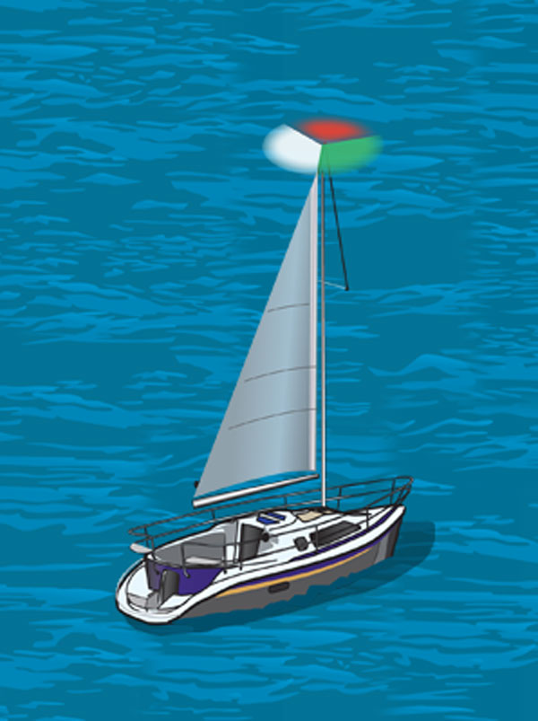 Sailboat with a combination red, green, and white light near top of mast