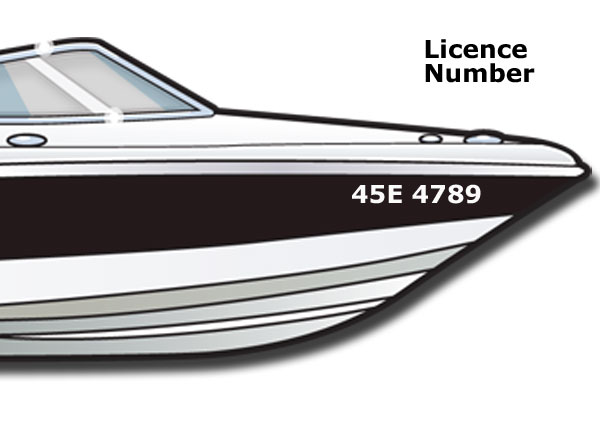 Boat licence number displayed properly