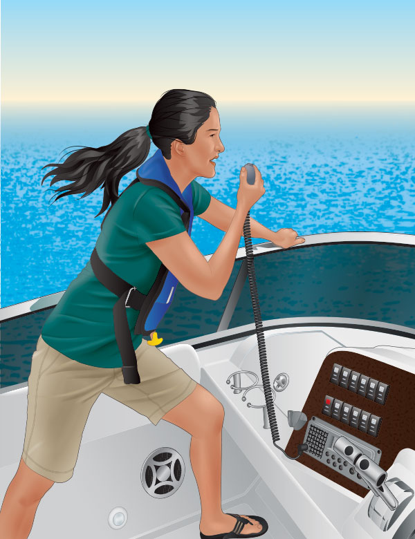 Issuing a MAYDAY call on a VHF radio