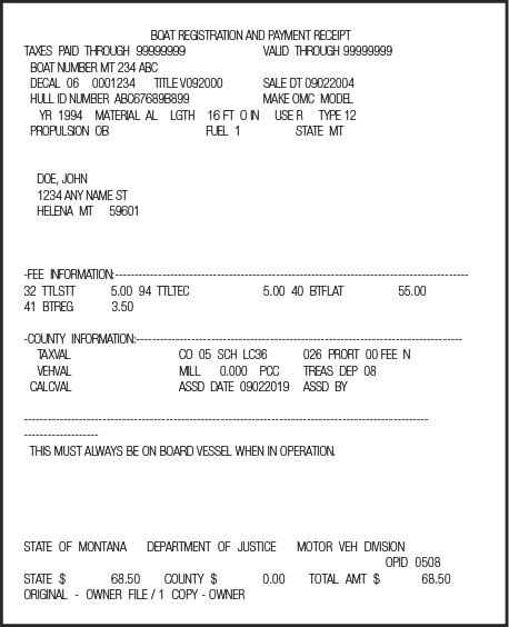 Montana Certificate of Number