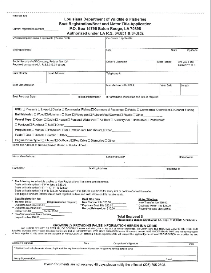 Louisiana Boating Registration Application