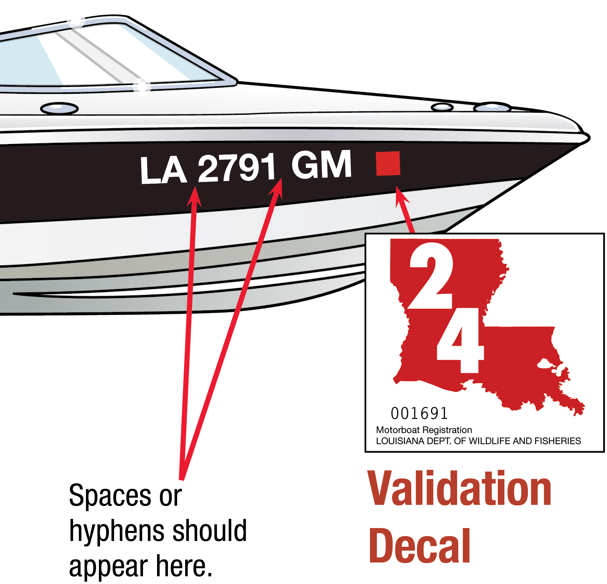 Louisiana Boat Decal 2024