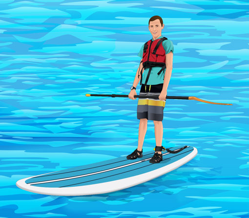 Paddler with leash