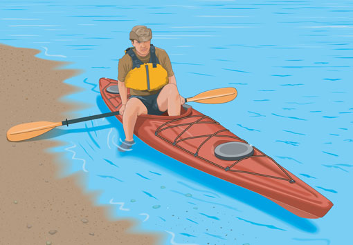 Boarding a kayak from a shoreline