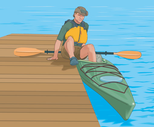 Boarding a kayak from a dock