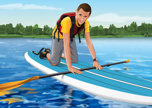 Mounting a stand-up paddleboard in the water
