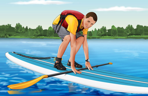 Standing up on a paddleboard from the kneeling position