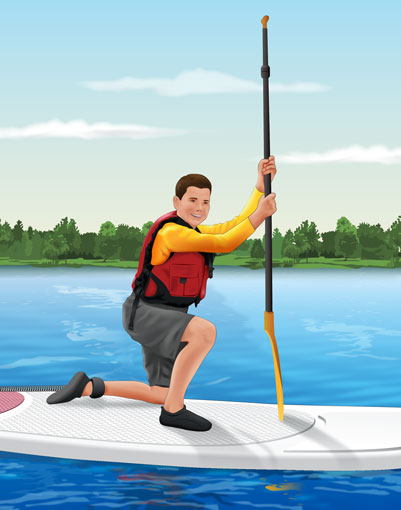 Standing up on a paddleboard from the kneeling position using the tripod method