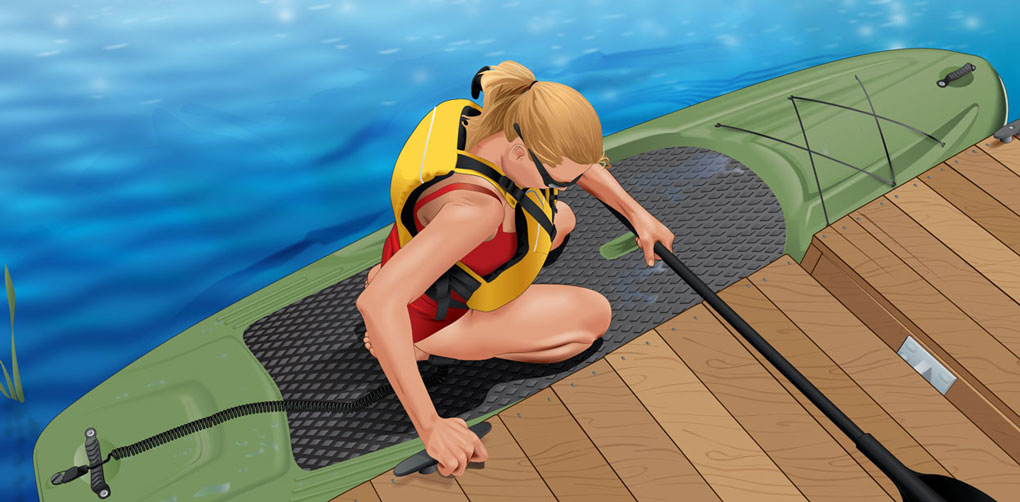 Dismounting a stand-up paddleboard at a dock