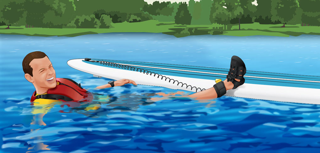 Falling off a paddleboard