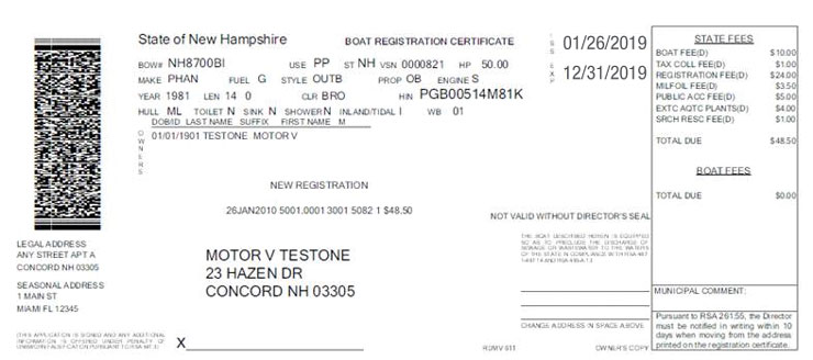 New Hampshire Boat Certificate of Registration