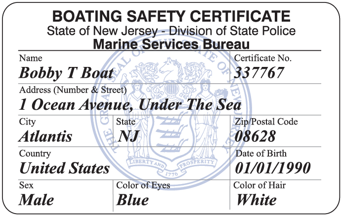 New Jersey Boating Safety Certificate