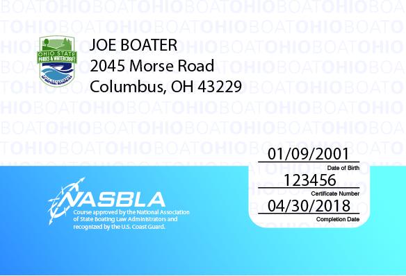 Ohio Boater Education Card